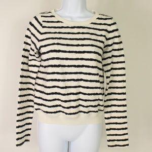 Postmark blue white striped long sleeve knit top